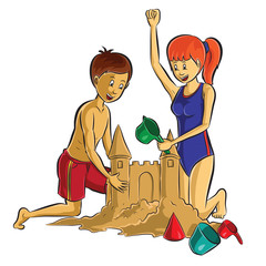 teenager making sand Castle on beach