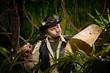 Lost explorer in the jungle