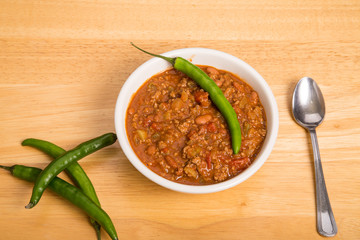 Chili with Cayenne and Pepper in Bowl
