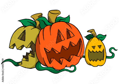 Three Pumpkins Laughing