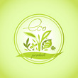 pure natural product eco emblem in a circle
