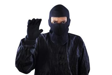 Bandit showing hand to take something
