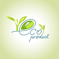 eco product with a drop of dew in the letter