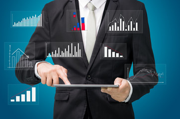 Businessman standing posture hand hold graph on tablet isolated