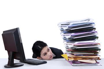 Businesswoman overworked