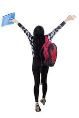 Cheerful student feeling free