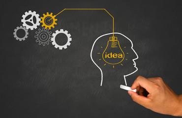 idea concept in silhouette of human