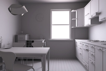 3D render of a kitchen with some equipments