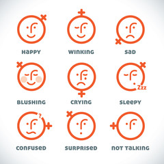 Vector Smiles Icons, Illustration, Sign, Symbol, Button