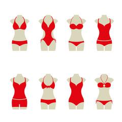Bikini Set Sommer Vektor Icon Button