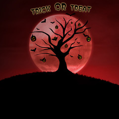 Design halloween card trick or treat on pumpkin tree