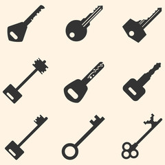 Vector Set of Keys Icons.