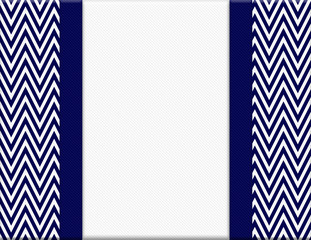 Navy Blue and White Chevron Zigzag Frame with Ribbon Background