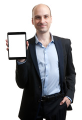 Business man holding digital tablet