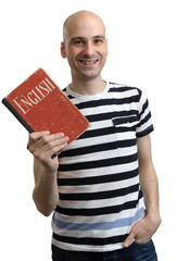 english education. Happy man with textbook