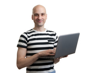 casual man with laptop