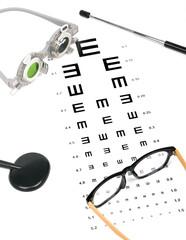 optometrist chart and eye glasses