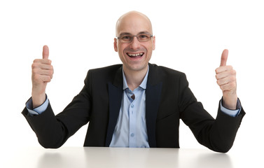 businessman showing thumb up gesture