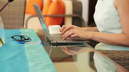 Businesswoman hands typing on modern laptop on table