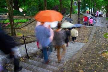 Streets of Paris, Sacre Coeur stairs with people moving in the r