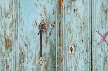 Old, turquoise Turkish door.  Wood texture background