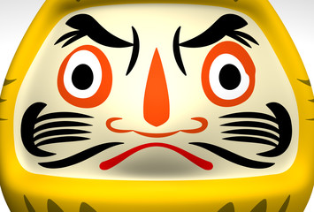 Face Of Yellow Daruma Doll