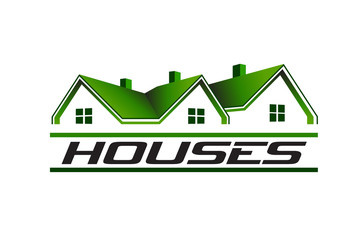 Green houses real estate image logo