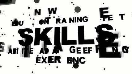 Skills oriented flying words - 3D render illustration