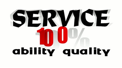 the word service 100% on white - 3d illustration