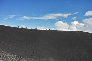 People walk on high mountain
