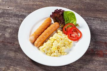 Sausages and scrambled egg