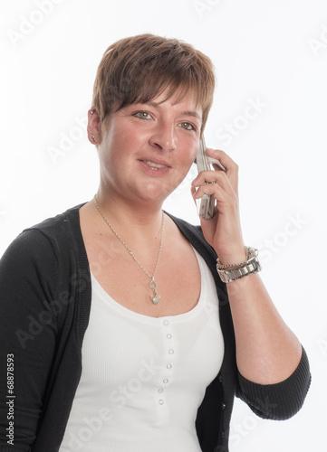 canvas print picture Junge Frau telefoniert mit Handy