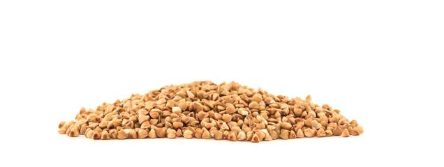Buckwheat handful isolated on white background