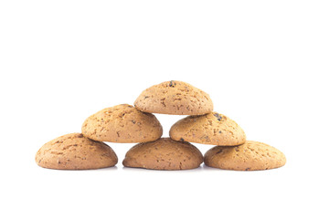 Oatmeal cookies stacked pyramid on the white background