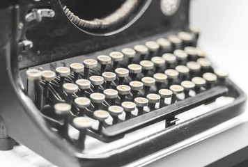 Antique typewriter close up, retro object