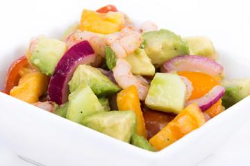 shrimp and avocado summer salad over white