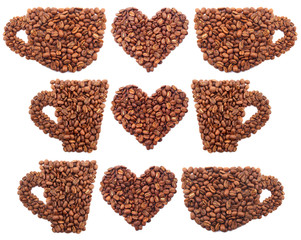 Set of coffee grains. Healthy and tasty food