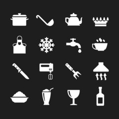 Set icons of cooking and kitchen