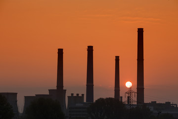Sunrise scenic of power plant