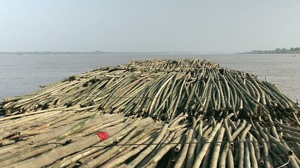 View on the  bamboo rafts on the mekong river (1)