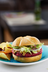 Beetroot burger on white bread