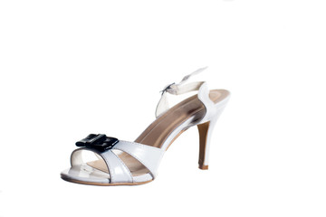 Scarpa, sandalo da donna, con tacco, sfondo bianco
