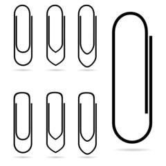 paperclip icon in black vector illustration