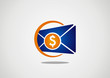 money dropping in open mail logo vector