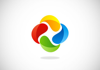 3D business circle abstract vector logo