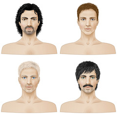 Set of closeup faces