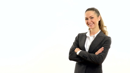 Young beautiful business woman showing copy space on a white