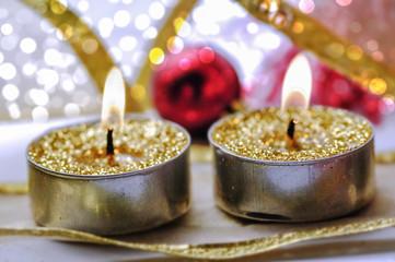 Christmas golden candles