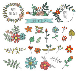 Hand drawn flowers, floral elements and floral wreath