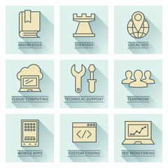 Business vector icons. Development and temwork concept.